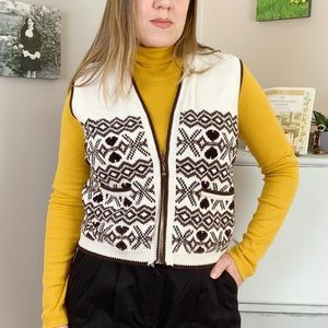 Vintage Cream Brown Fair Isle Cotton Wool Vest